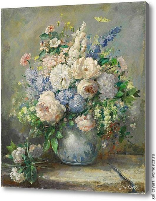 """Картины цветов ручной работы. Ярмарка Мастеров - ручная работа. Купить Картина """"Букет светлых цветов в небесной вазе"""" 50х70. Handmade."""