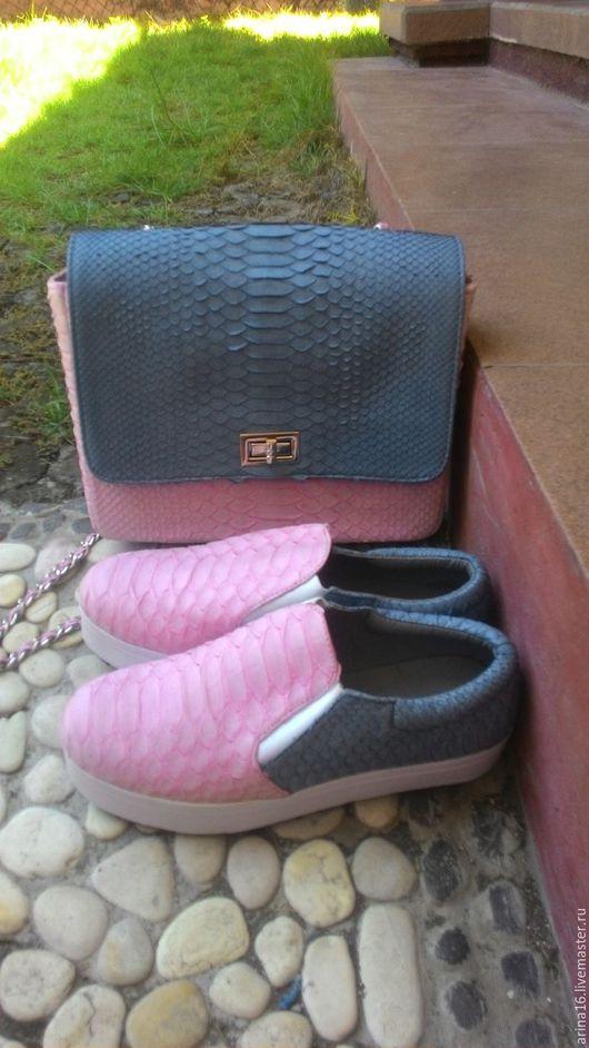 Обувь ручной работы. Ярмарка Мастеров - ручная работа. Купить Комплект из кожи питона. Handmade. Бледно-розовый, обувь из питона