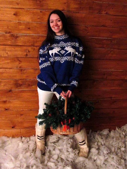 """Кофты и свитера ручной работы. Ярмарка Мастеров - ручная работа. Купить Джемпер  """"Снежные Лоси"""" оверсайз. Handmade. Тёмно-синий"""