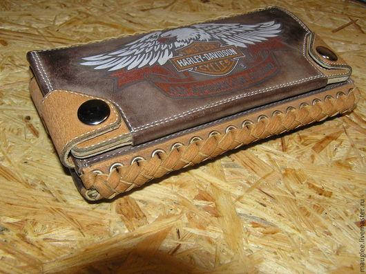 Кошельки и визитницы ручной работы. Ярмарка Мастеров - ручная работа. Купить Портмоне-Кошелек Harley-Davidson 111 лет. Handmade.