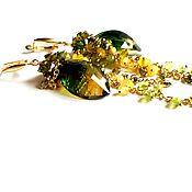 Украшения ручной работы. Ярмарка Мастеров - ручная работа Серьги с аметрином, серебро 925, позолота,агат,хризолит,желто зеленый. Handmade.