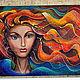 """Фантазийные сюжеты ручной работы. Ярмарка Мастеров - ручная работа. Купить """"Русалка"""". Handmade. Картина, море, ветер, лицо, осень"""