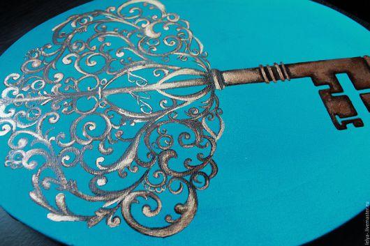Символизм ручной работы. Ярмарка Мастеров - ручная работа. Купить Картина панно Ключ от счастья. Handmade. Морская волна, акрил