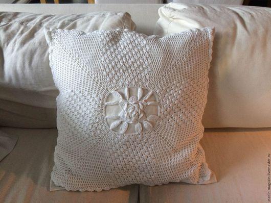 Текстиль, ковры ручной работы. Ярмарка Мастеров - ручная работа. Купить Подушка 50х50 см. Handmade. Белый, узор крючком