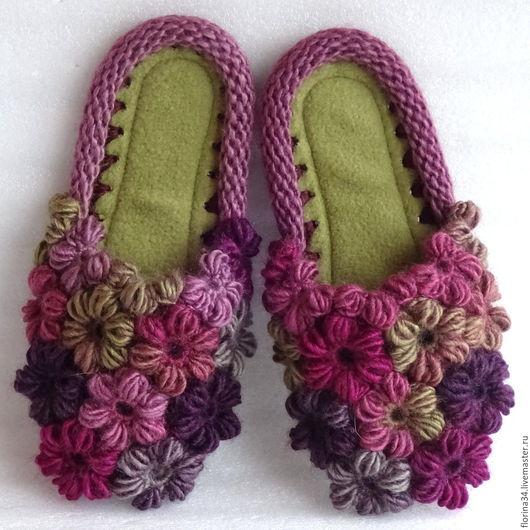 Обувь ручной работы. Ярмарка Мастеров - ручная работа. Купить Тапочки-шлепки  Клумба бордо. Handmade. Тапочки, искуственная кожа