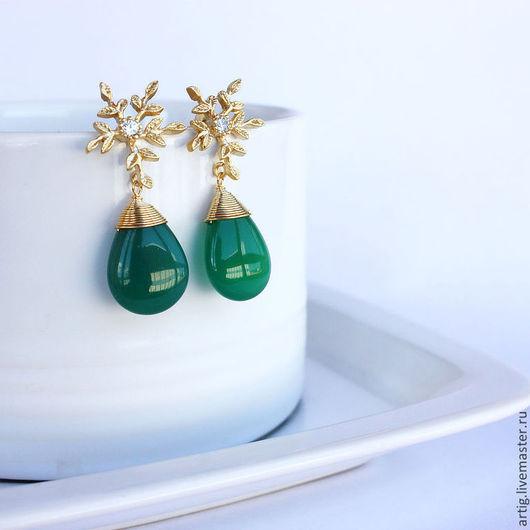 Серьги ручной работы. Ярмарка Мастеров - ручная работа. Купить Серьги с зеленым нефритом. Handmade. Тёмно-зелёный, зеленый нефрит