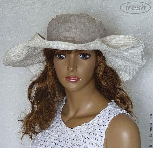 """Шляпы ручной работы. Ярмарка Мастеров - ручная работа. Купить Шляпа """"Льняное лето"""" женская. Handmade. Бежевый, льняная одежда"""