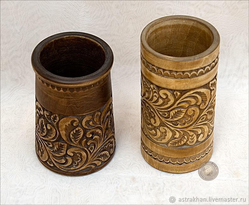 Резные стаканы для кистей, карандашей и др, Карандашницы, Астрахань,  Фото №1