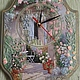 """Часы для дома ручной работы. Ярмарка Мастеров - ручная работа. Купить Часы  """"Цветущий сад"""". Handmade. Голубой"""