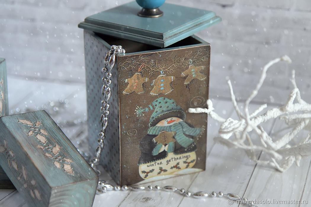 Box Christmas from the collection of Snowmen. Box decoupage, Storage Box, Khimki,  Фото №1