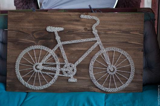 Символизм ручной работы. Ярмарка Мастеров - ручная работа. Купить Велосипед в технике String Art. Handmade. Белый, stringart, панно