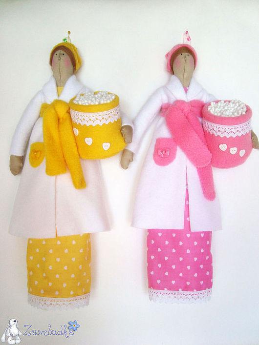 Ванная комната ручной работы. Ярмарка Мастеров - ручная работа. Купить Хранительница ватных дисков и палочек (желтая и розовая). Handmade.