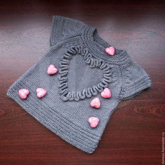 Одежда для девочек, ручной работы. Ярмарка Мастеров - ручная работа. Купить Безрукавка Сердце, купить безрукавку, безрукавка вязаная. Handmade.