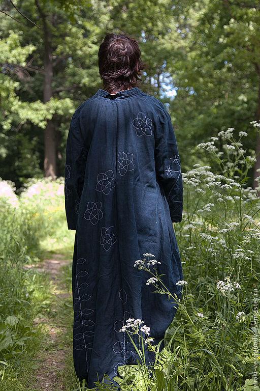 Верхняя одежда ручной работы. Ярмарка Мастеров - ручная работа. Купить Платье-пальто Сашико. Handmade. Тёмно-синий