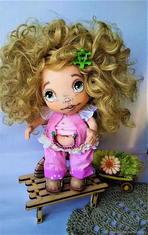 Кукла из ткани кудрявая блондинка в розовом Интерьерная игрушка, Тыквоголовка, Новосибирск,  Фото №1