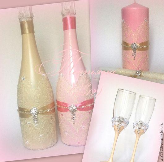 Свадебные аксессуары ручной работы. Ярмарка Мастеров - ручная работа. Купить Айвори-розовый свадебный набор. Handmade. Розовый