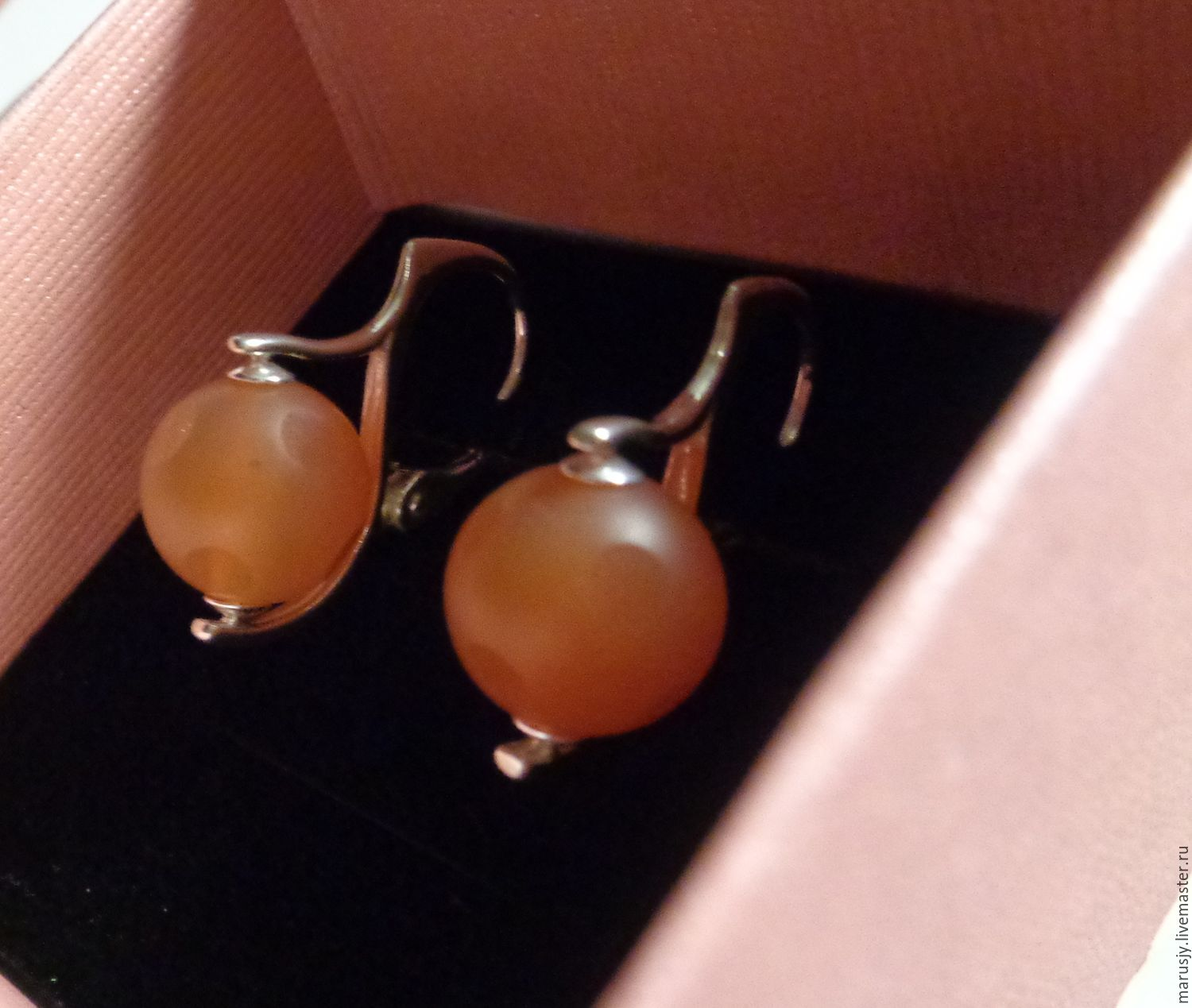 Earrings made of 925 silver and carnelian (ball with a pattern), Earrings, Sergiev Posad,  Фото №1