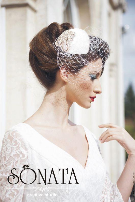 Одежда и аксессуары ручной работы.Ярмарка Мастеров-ручная работа.Купить шляпку-таблетку `Diana`Цвет-белый.Handmade.