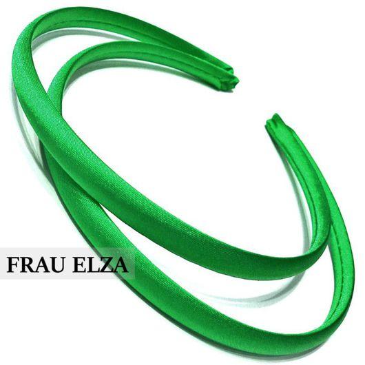 Для украшений ручной работы. Ярмарка Мастеров - ручная работа. Купить Ободок сатиновый 7 мм. Зеленый. Handmade.