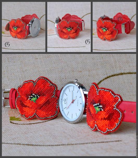 """Часы ручной работы. Ярмарка Мастеров - ручная работа. Купить Часы """"Алые маки"""". Handmade. Ярко-красный, часы с вышивкой"""