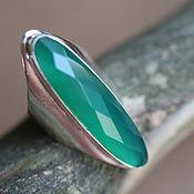 Украшения ручной работы. Ярмарка Мастеров - ручная работа 18 кольцо серебряное с хризопразом 38 мм. Handmade.