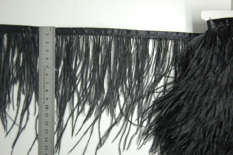 Trim of ostrich feathers 10-15 cm black, braid, Moscow,  Фото №1