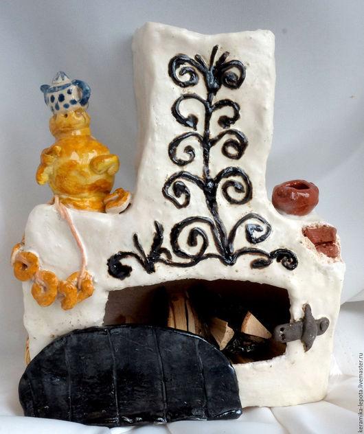 Статуэтки ручной работы. Ярмарка Мастеров - ручная работа. Купить Камин с самоваром. Handmade. Комбинированный, камин, шамотная глина