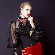 Одежда ручной работы. Ярмарка Мастеров - ручная работа Корсет-пояс утягивающий  «Оникс»  из черной костюмной ткани с бюском. Handmade.