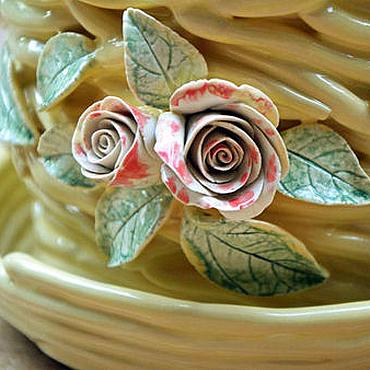 Flowers and floristry handmade. Livemaster - original item Flower pot Vanilla and roses. Handmade.