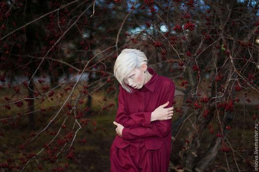 """Платья ручной работы. Ярмарка Мастеров - ручная работа. Купить Платье-рубашка """" Когда ягоды упадут на снег"""". Handmade."""