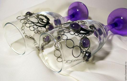 """Бокалы, стаканы ручной работы. Ярмарка Мастеров - ручная работа. Купить Бокалы """"Вальс наших сердец"""". Handmade. Фиолетовый, аметист"""