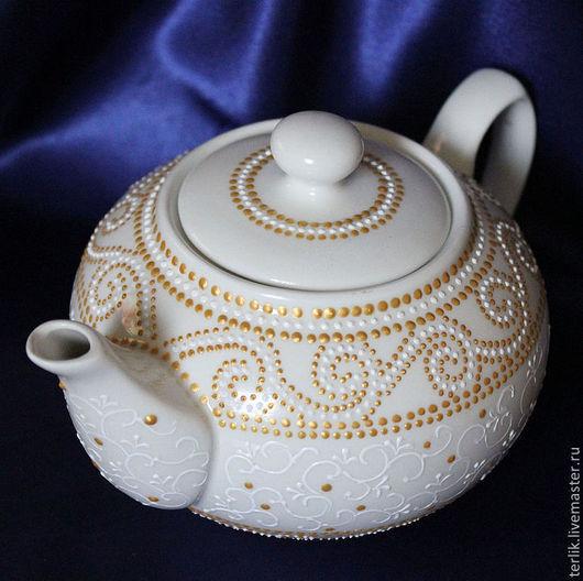 посуда для чая, чайная посуда, красивая посуда,   посуда фарфоровая, посуда керамическая,   \r\nпосуда с рисунком, посуда в подарок женщине, посуда с точечной росписью, посуда для чаепития
