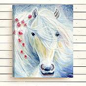 """Картины и панно ручной работы. Ярмарка Мастеров - ручная работа Картина """"Белая лошадь. Мечты"""" масло, холст,  50х40 см. Handmade."""