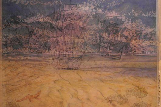 Пейзаж ручной работы. Ярмарка Мастеров - ручная работа. Купить Мираж. Handmade. Желтый, корабль, шелк, Батик, песок, шёлк