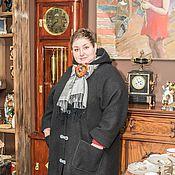 Пальто черное из валяной шерсти