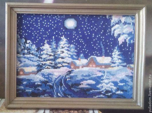 Пейзаж ручной работы. Ярмарка Мастеров - ручная работа. Купить Зимний вечер. Handmade. Синий, картина, Вышитая картина