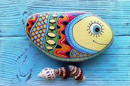 Ярмарка Мастеров. Ручная работа, Handmade. Купить Добрую Рыбу. Разноцветный, дудлинг, рыбка, роспись, морская тема, подарок