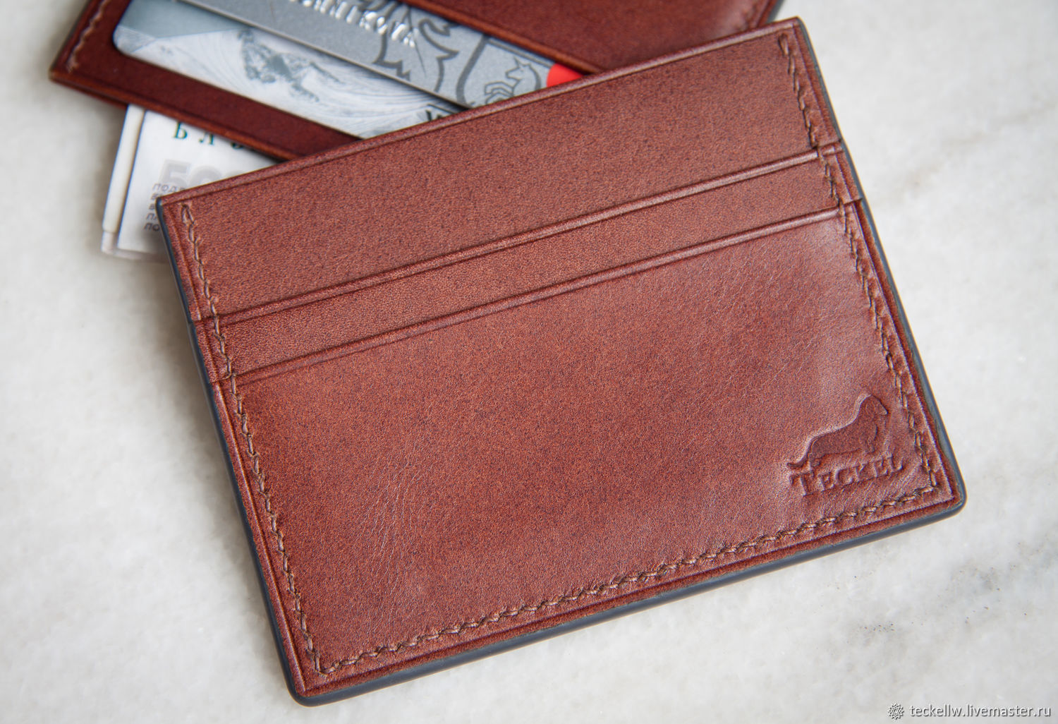 Cardholders from the skin. Minimalistic wallet for cards and folded bills, Cardholder, Moscow,  Фото №1