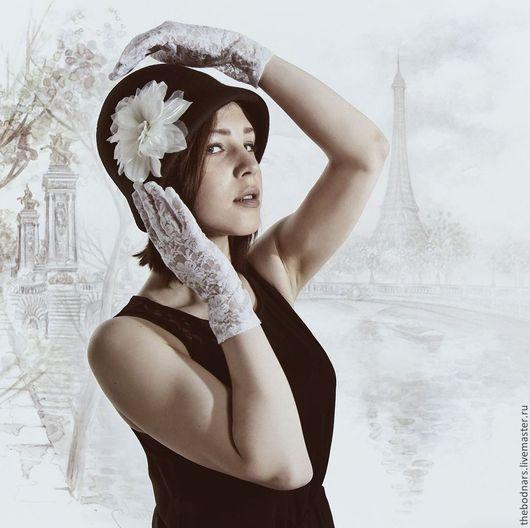 Шляпы ручной работы. Ярмарка Мастеров - ручная работа. Купить Фетровая шляпка клош Париж. Handmade. Шляпа, черный, красота