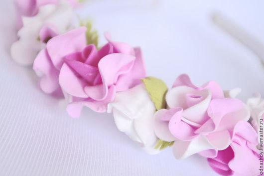 """Диадемы, обручи ручной работы. Ярмарка Мастеров - ручная работа. Купить Ободок для волос """"Утро"""" из фоамирана. Handmade. Розовый, прическа"""