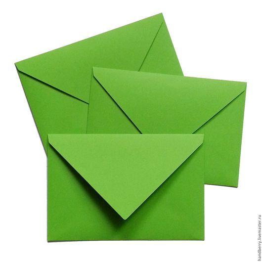 Упаковка ручной работы. Ярмарка Мастеров - ручная работа. Купить Конверт 10,5 х 15,5 см Зеленый. Handmade.