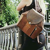 Сумки и аксессуары handmade. Livemaster - original item Backpack made of genuine leather, this boho coffee-caramel. Handmade.