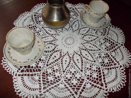 """Текстиль, ковры ручной работы. Ярмарка Мастеров - ручная работа. Купить Салфетка """"Эвридика"""" 44см. Handmade. Белый, скатерть крючком"""