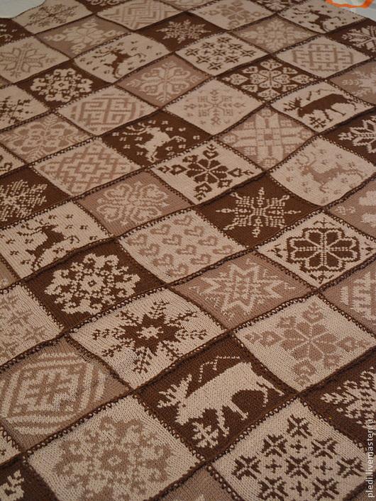 """Текстиль, ковры ручной работы. Ярмарка Мастеров - ручная работа. Купить Плед """"Норвежский капучино"""". Handmade. Коричневый, олененок"""