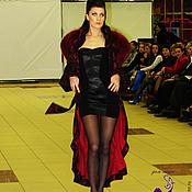 """Роскошное кружевное пальто с песцовым воротником """"Бордо"""" в разных цвет"""