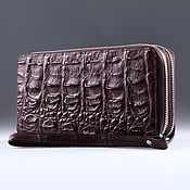 Сумки и аксессуары handmade. Livemaster - original item Clutch bag in crocodile leather with two zippers IMA0002K3. Handmade.