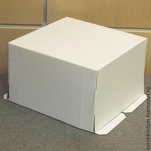 Упаковка ручной работы. Ярмарка Мастеров - ручная работа. Купить Коробка 30х30х19 см для торта микрогофрокартон белая. Handmade. Коробочка