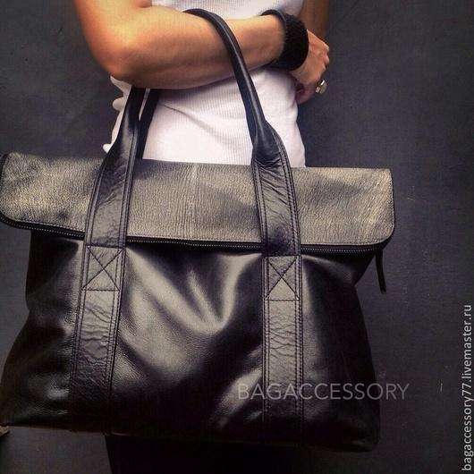 Женские сумки ручной работы. Ярмарка Мастеров - ручная работа. Купить Сумка из натуральной кожи. Handmade. Черный, натуральная кожа