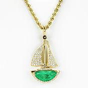 Украшения handmade. Livemaster - original item 5.90tcw Exquisite Emerald & Diamond Sail Boat, Hand Made Emerald Sail. Handmade.
