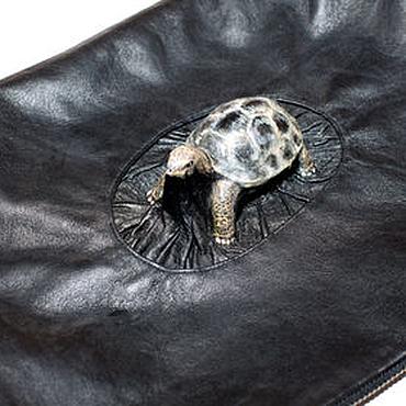 """Сумки и аксессуары ручной работы. Ярмарка Мастеров - ручная работа 3D Сумка """"Сухопутная черепашка"""" из чёрной натуральной кожи. Handmade."""